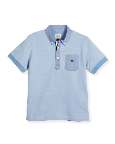 Short-Sleeve Pique Polo Shirt, Turquoise, Size 4-12
