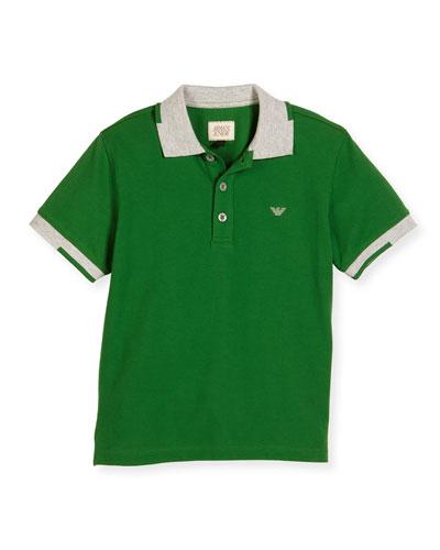Short-Sleeve Basic Colorblock Pique Polo Shirt, Green, Size 4-12