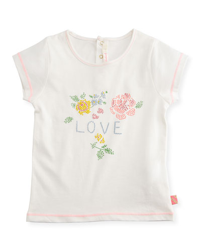 Cap-Sleeve Graphic Love & Floral Jersey Tee, White, Size 2-3