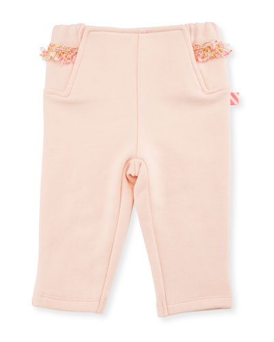 Fringe Jersey Sweatpants, Rose, Size 12-18 Months