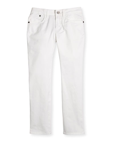 Slim-Fit Stretch Chino Pants, White, Size 4-12