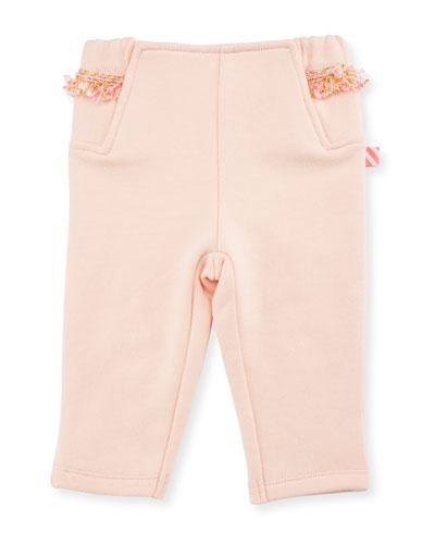 Fringe Jersey Sweatpants, Rose, Size 2-3