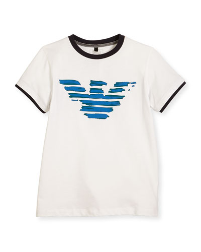Painted Logo Jersey Tee, White, Size 4-12