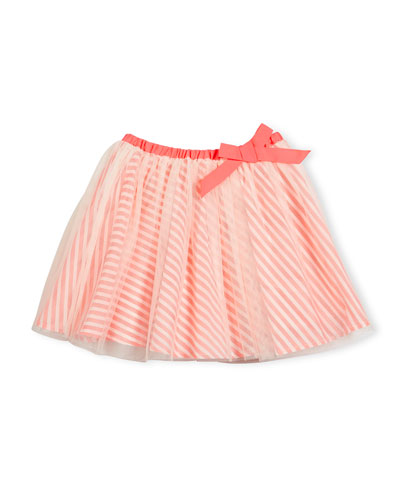 Striped-Underlay Tulle A-Line Skirt, Pink, Size 4-8
