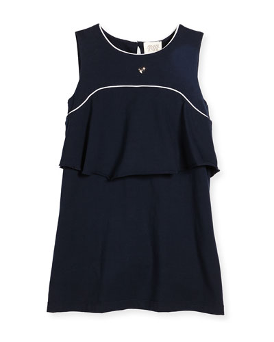 Sleeveless Stretch Jersey Popover Dress, Blue, Size 4-8