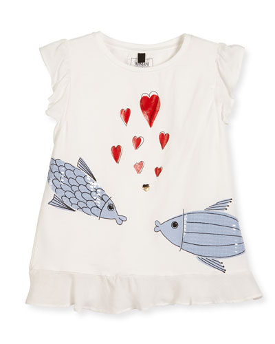 Kissing Fish Stretch Jersey Tee, White, Size 4-8