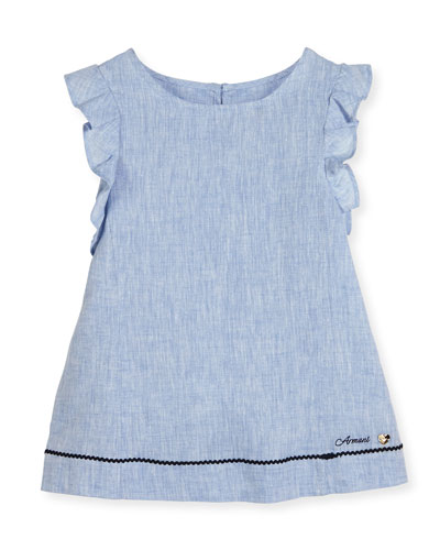 Ruffle-Trim Linen A-Line Dress, Blue, Size 4-8