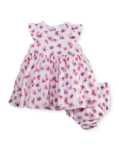 Sleeveless Smocked Floral Watercolor Dress w/ Bloomers, Multicolor, Size ...