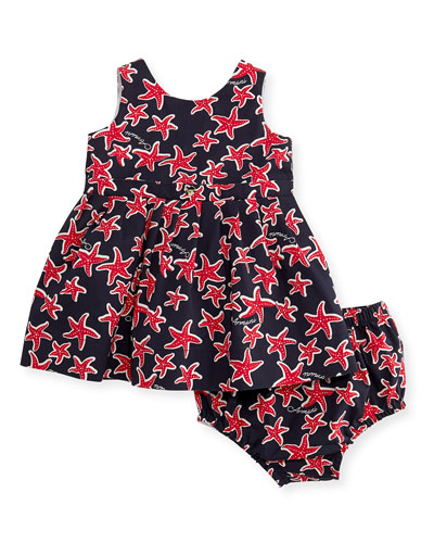 Sleeveless Pleated Poplin Starfish Dress, Multicolor, Size 6-24 Months