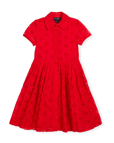 Floral Eyelet Pleated Shirtdress, Cherry, Size 2-14