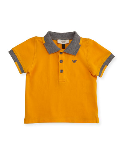 Short-Sleeve Basic Colorblock Pique Polo Shirt, Orange, Size 6-24 Months
