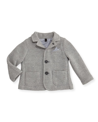 Pique Two-Button Blazer, Gray, Size 6-24 Months