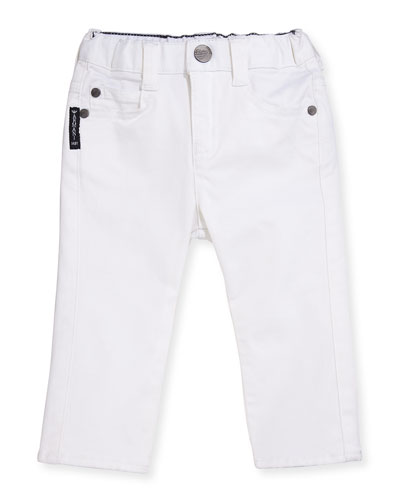 Slim-Fit Stretch Denim Jeans, White, Size 6-24 Months
