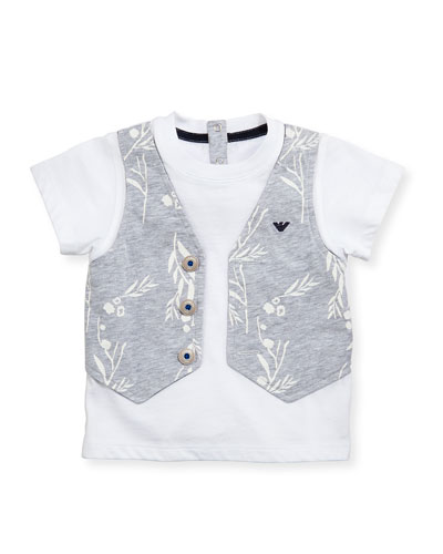 Short-Sleeve Faux-Vest Jersey Tee, White, Size 6-24 Months