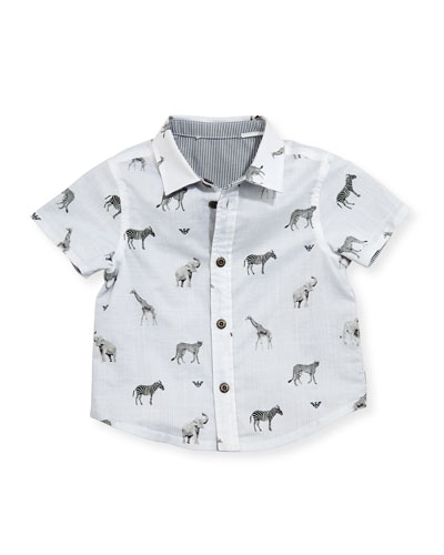 Short-Sleeve Reversible Animal-Print Shirt, Multicolor, Size 6-24 Months