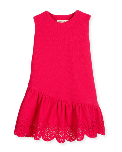 Sleeveless Jacquard Laser-Cut Dress, Fuchsia, Size 7-14