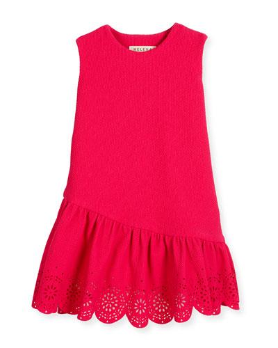 Sleeveless Jacquard Laser-Cut Dress, Fuchsia, Size 2-6