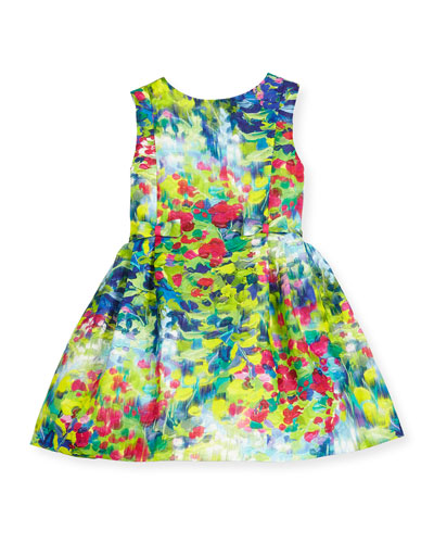 Sleeveless Floral Linen Dress, Multicolor, Size 2-6