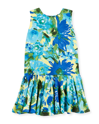Sleeveless Stretch Jersey Floral Fit-and-Flare Dress, Royal, Size 7-14
