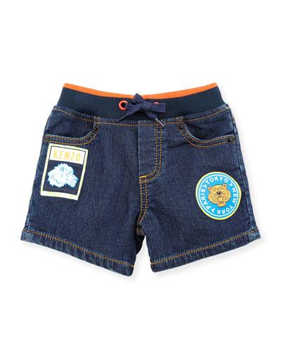 Byby Fleece Denim Drawstring Shorts, Blue, Size 2-4