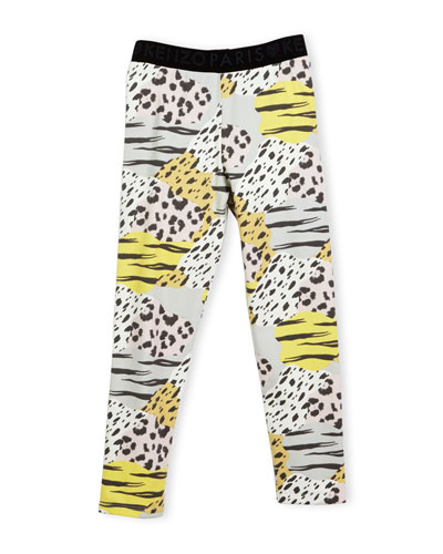 Bess Animal-Print Stretch Jersey Leggings, Pink/Multicolor, Size 4-6