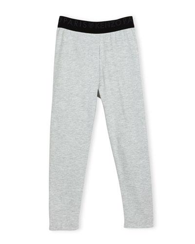 Blanca Melange Stretch Jersey Logo Leggings, Gray, Size 2-6
