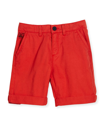 Cotton Twill Shorts, Red, Size 8-12
