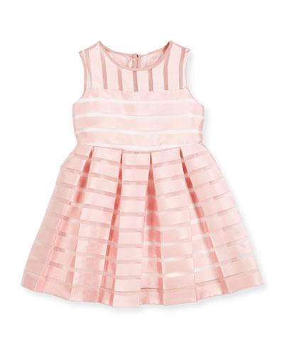Sleeveless Pleated Sheer Stripe Dress, Size 4-7