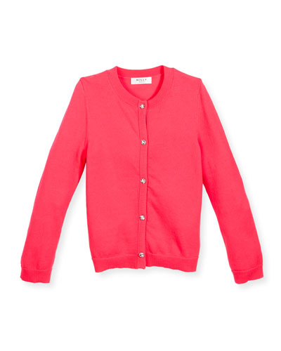 Soft Button-Front Cardigan, Pink, Sizes 8-14