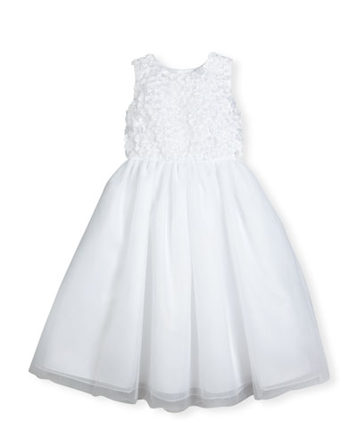 Sleeveless Floral Tulle & Organza Special Occasion Dress, White, Size 2-14