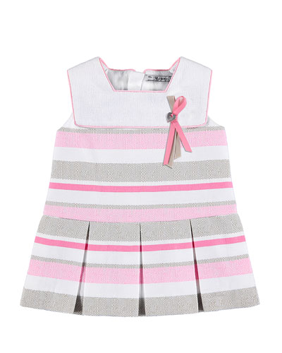 Sleeveless Pleated Striped Tweed Dress, Pink, Size 12-36 Months