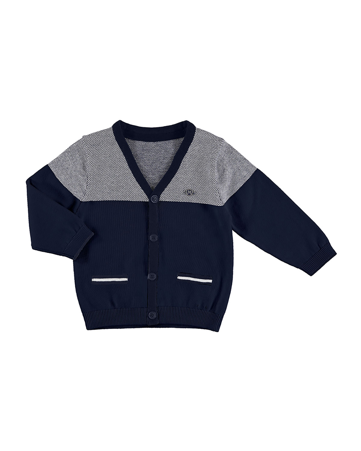 Colorblock Cotton Birdseye Sweater, Navy, Size 12-36 Months