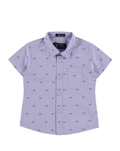 Short-Sleeve Oxford Bicycle Shirt, Blue, Size 12-36 Months