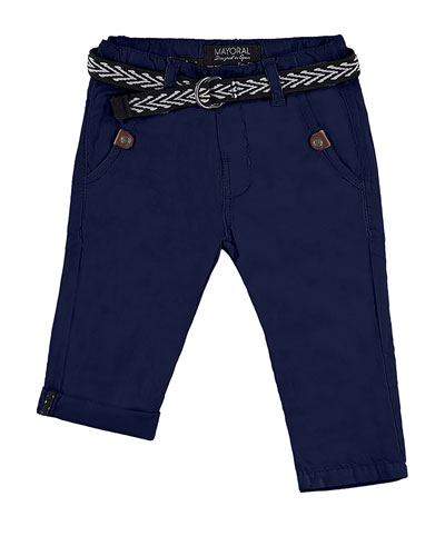 Belted Straight-Leg Chino Pants, Blue, Size 12-36 Months