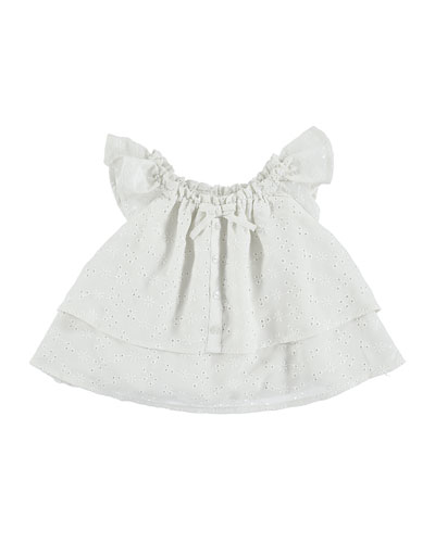 Sleeveless Tiered Eyelet Top, Neutral, Size 3-7