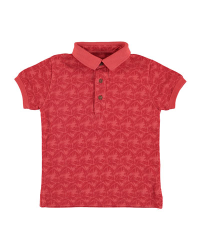 Pique Palm-Print Polo Shirt, Red, Size 3-7