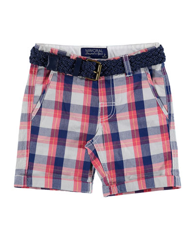 Belted Cotton Plaid Shorts, Multicolor, Size 3-7