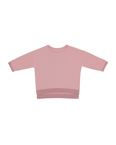 Metallic Crewneck Pullover Sweater, Rose, Size 8-16