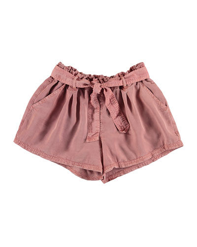 Belted Paperbag-Waist Twill Shorts, Pink, Size 8-16
