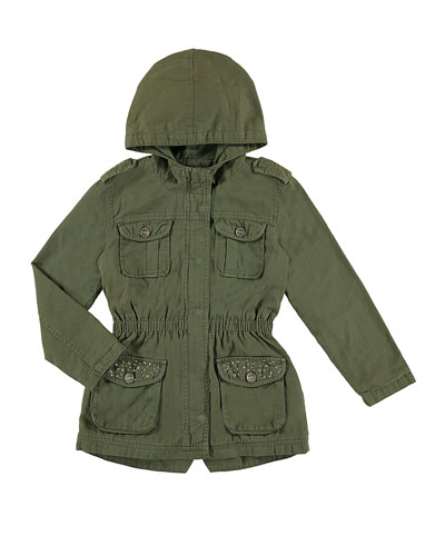 Hooded Cotton Twill Safari Jacket, Olive, Size 8-16