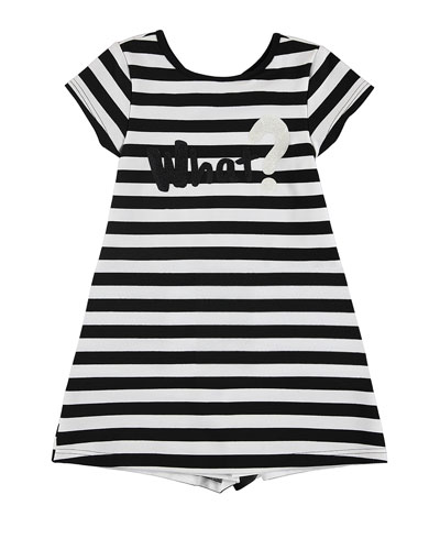 Cap-Sleeve Striped Jersey Dress, Black/White, Size 8-16