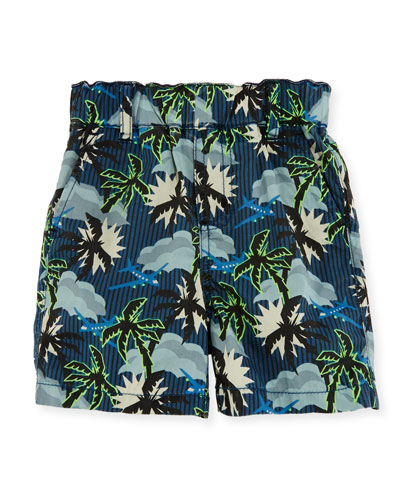 Lucas Cotton Hawaiian Shorts, Blue, Size 12-24 Months