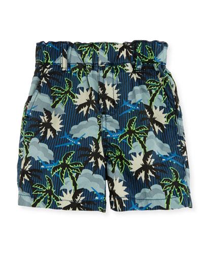 Lucas Cotton Hawaiian Shorts, Blue, Size 12-24 Months