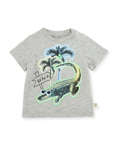 Chuckle Beach Alligator Jersey Tee, Gray, Size 12-24 Months