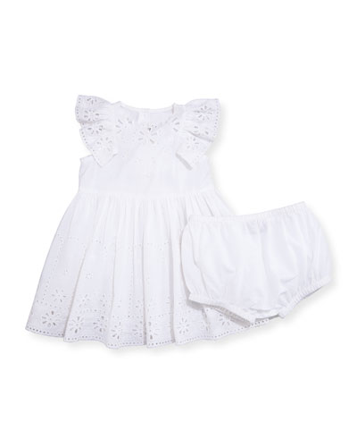 Sleeveless Floral Eyelet Poplin Dress w/ Bloomers, White, Size 12-24 Months