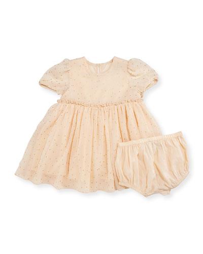 Maria Metallic Polka-Dot Dress w/ Bloomers, Beige, Size 12-24 Months