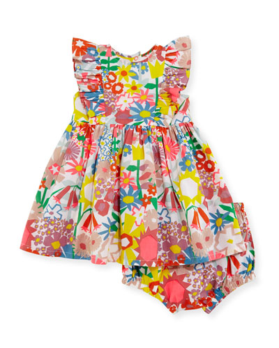 August Floral Smocked Dress w/ Bloomers, Multicolor, Size 12-24 Months