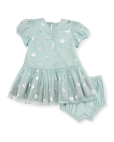 Missy Metallic Daisy Tulle Dress w/ Bloomers, Blue, Size 12-24 Months