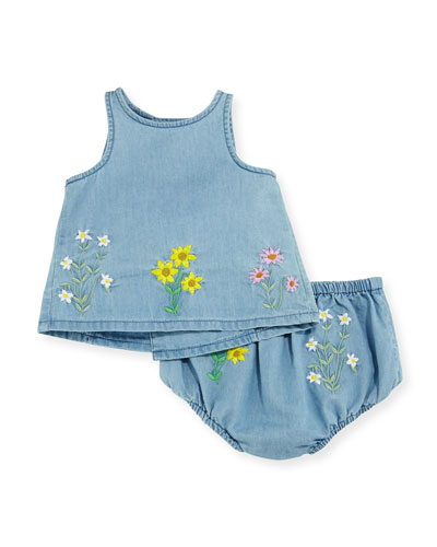 Trixie Embroidered Chambray Top w/ Bloomers, Blue, Size 6-12 Months