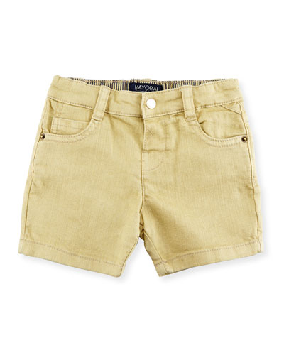 Stretch Twill Shorts, Sand, Size 6-36 Months